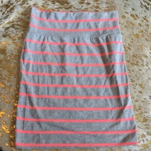 Neon pink and light gray fit bodycon skirt f21